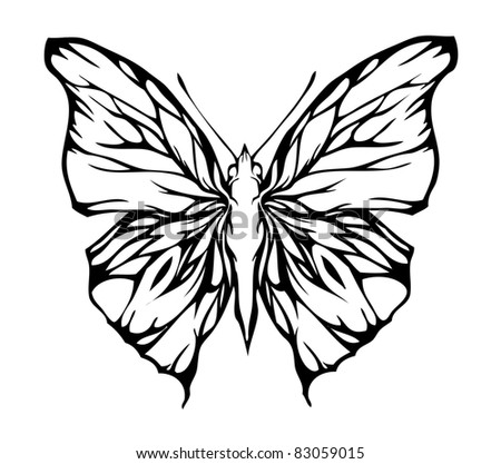 Nice airy butterfly, vector - stock vector