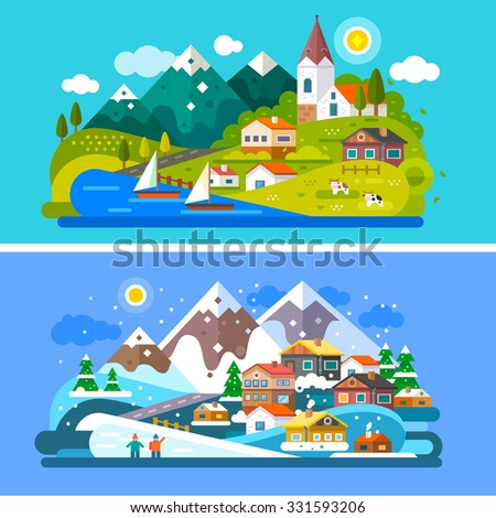 Nice Alps landscapes. Mountain and Lake views: chapel, boats on a lake, cows roaming on  the alpine meadows, snow mountains, snowboarding people, alpine village, Stock vector illustration flat set.  - stock vector