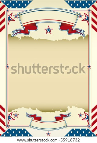 Nice american background. A damaged american poster for your advertising. - stock vector