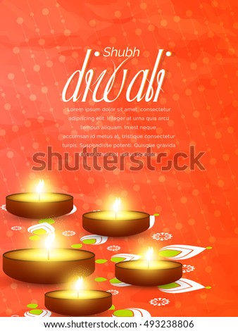 nice and beautiful vector abstract for happy diwali or deepawali a with nice and creative deep design illustration in a orange textured background.