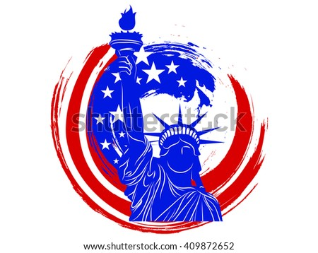 nice and beautiful vector abstract for 4th of July with nice and creative Statue of Liberty illustration in a national themed grunge in a white background. - stock vector