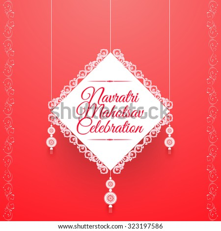 nice and creative vector abstract for Navratri mahotsav Celebration with nice and creative white color patch in a gradient pink color in background with some floral pattern. - stock vector