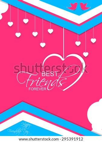 Nice and creative vector flyers or Greetings for Friends Forever or Happy Friendship Day with lots of white colour hearts hanging in a pink colour background. - stock vector