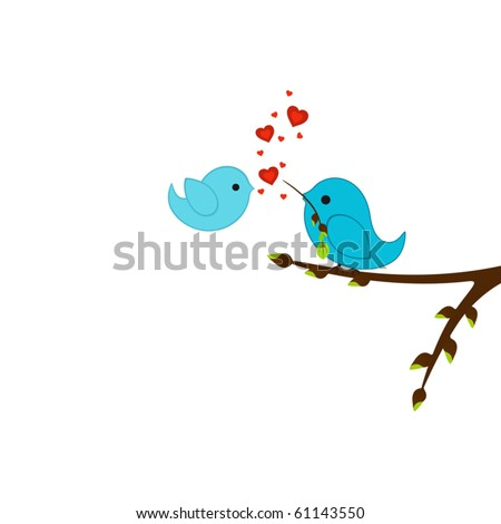 Nice beautiful birds in love. Isolated picture for Your design - stock vector