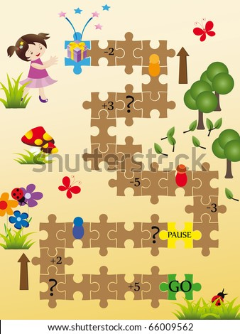 Nice board game for kids - stock vector