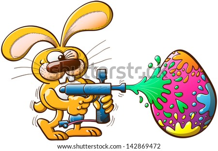 Nice bunny having fun while winking and painting a huge Easter egg with a modern paintball gun by splashing a variety of colors - stock vector