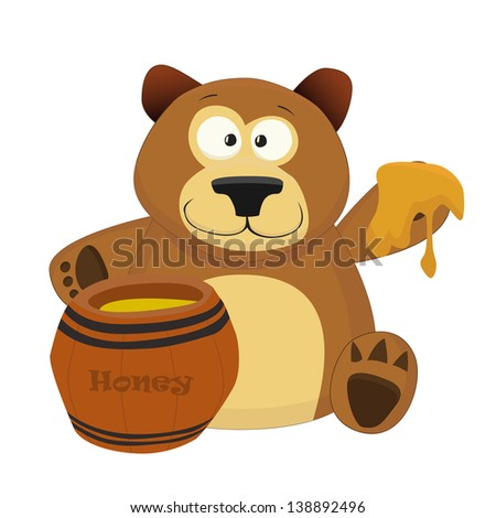 Nice cartoon bear with keg of honey