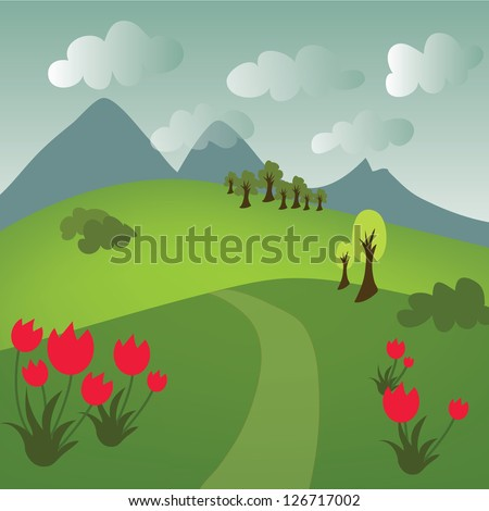 Nice cartoon girl with orange hair and pretty dresses in landscape - stock vector