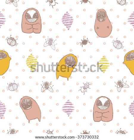 Nice girl pastel pajamas seamless vector pattern with funny monsters and polka dots - stock vector