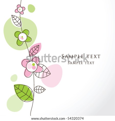 Nice Greeting card - template Cute simple Artistic hand drawn illustration - doodle For baby shower, greetings, invitation, mothers day, birthday, party, wedding - stock vector