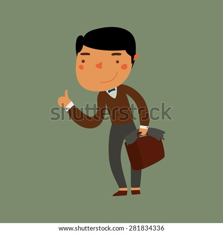nice guy student hitchhiking. cute flat character. vector illustration - stock vector