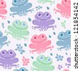 Nice happy cartoon seamless vector pattern with frogs and flowers - stock vector