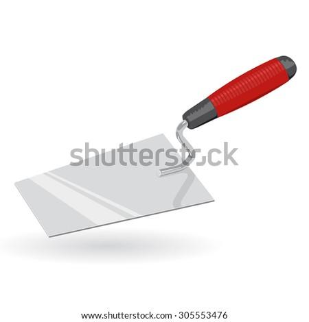 Nice metal red trowel stucco Construction Tools - Vector - stock vector