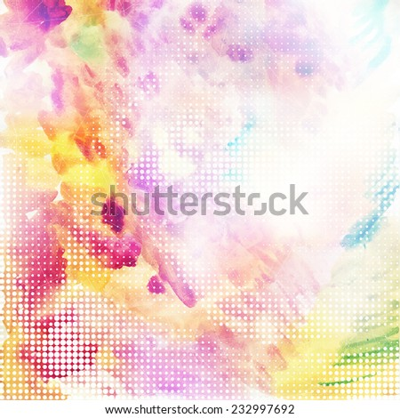 Nice pastel colored artistic hand drawn background with shining blurry watercolor abstract texture and highighted place for your text. - stock vector