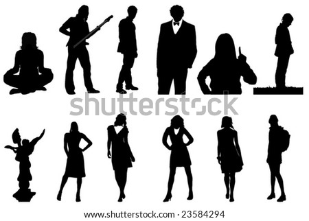 nice people silhouettes - stock vector