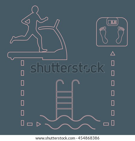 Nice picture of the sport lifestyle: man on a treadmill, swimming pool and scales on a color background