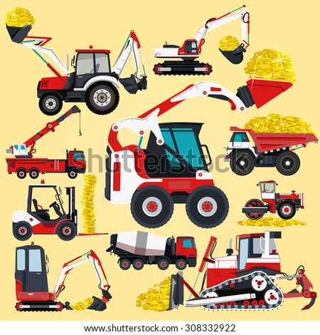 Nice red and white big set of ground works machines vehicles construction and equipment for building truck digger crane fork lift mall bagger mix roller excavator flatten isolated illustration vector - stock vector