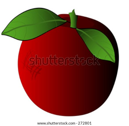 Nice red apple with green stem and leaves - stock vector