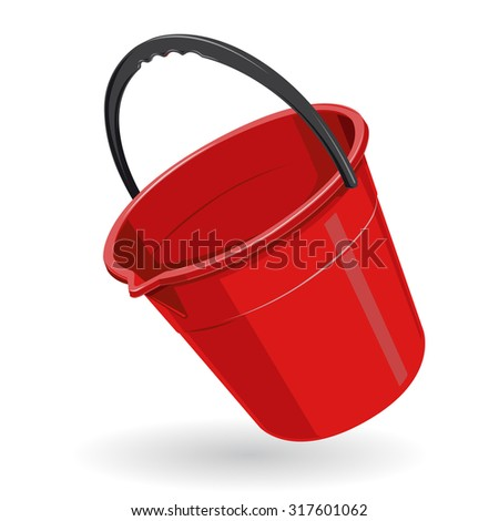 Nice Red Plastic Bucket with black handle on white - vector illustration - icon - stock vector