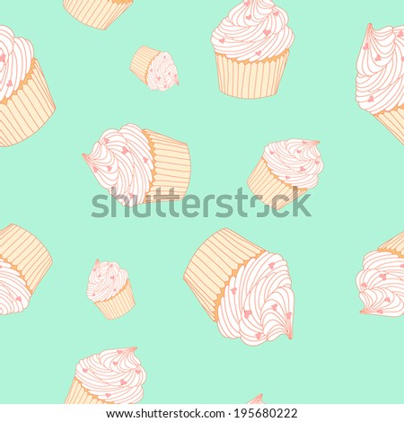 Nice seamless pattern with cup cakes made in vector - stock vector