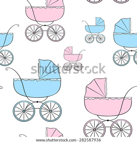 Nice seamless vector pattern with retro baby carriages of different sizes - stock vector