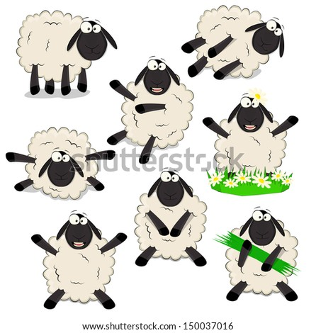 Nice set of cartoon sheeps  - stock vector