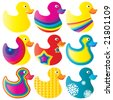 Nice set of duck toys in vector - stock vector