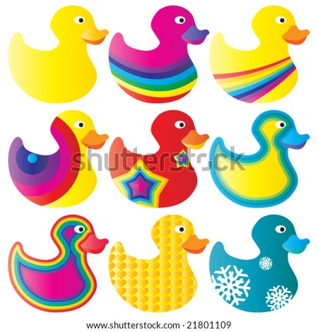 Nice set of duck toys in vector