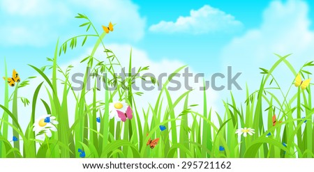 Nice shiny fresh butterfly flower grass lawn background with clouds sky. Nature spring summer backgrounds collection. - stock vector