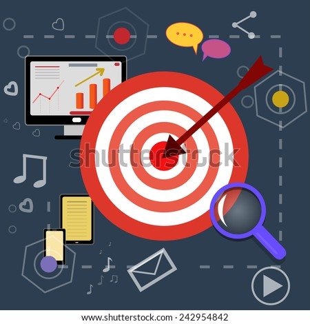 nice strategy planning icons with bright pictures - stock vector