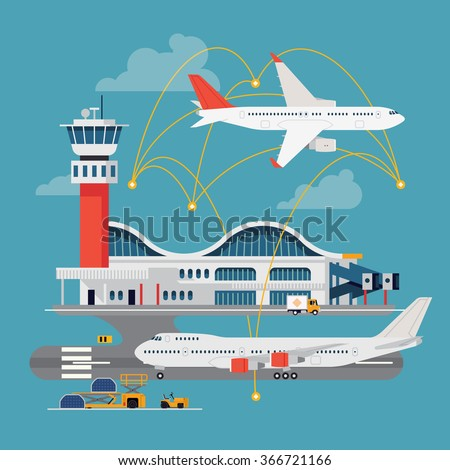 Nice vector concept layout on airport in trendy flat design. Travel by airways. Airport terminal with control tower, airplanes, runway and more - stock vector