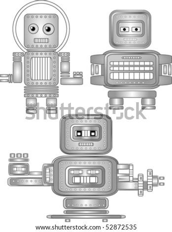 Nice vector retro robots - stock vector