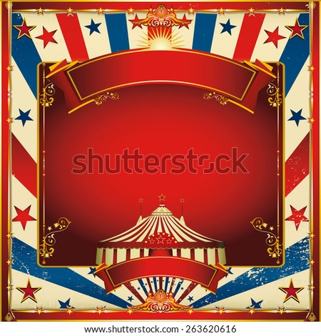 Nice vintage circus background with big top. A circus vintage square greeting card for your entertainment - stock vector
