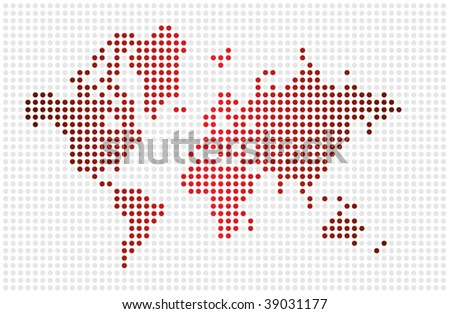 Nice world map textured with dots - stock vector