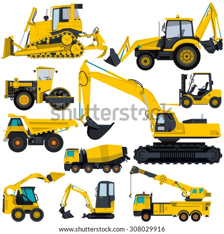 Nice yellow big set of ground works machines vehicles construction and equipment for building truck digger crane fork lift mall bagger mix roller excavator flatten isolated illustration vector - stock vector