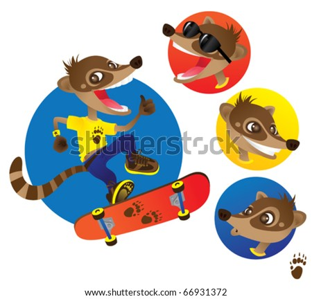 Nico Coati The Cool Skater Coati. Vector illustration of a cool Coati character, riding his skateboard. The Coati is a raccoon  with a long nose and ringed tail. Perfect as a mascot. - stock vector