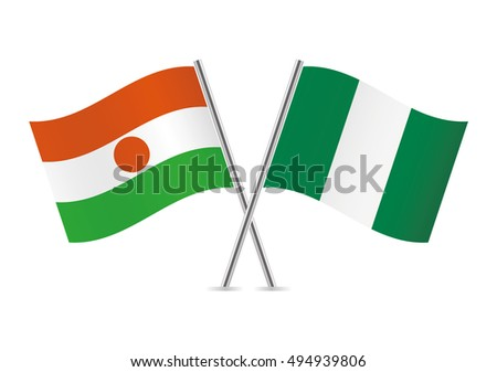 Niger and Nigeria flags. Vector illustration.