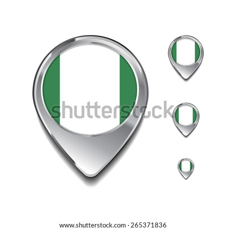Nigeria flag map pointer. 3d Map Pointer with flag glossy button style on gray background - stock vector