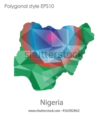 Nigeria in geometric polygonal style.Abstract gems triangle,modern design background. Vector illustration EPS10
