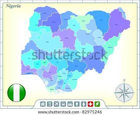 Nigeria Map with Flag Buttons and Assistance & Activates Icons Original Illustration - stock vector