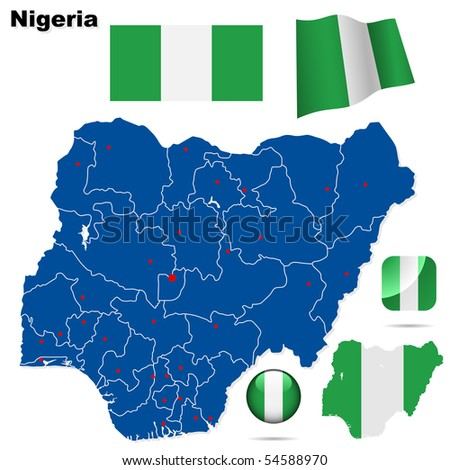 Nigeria vector set. Detailed country shape with region borders, flags and icons isolated on white background. - stock vector
