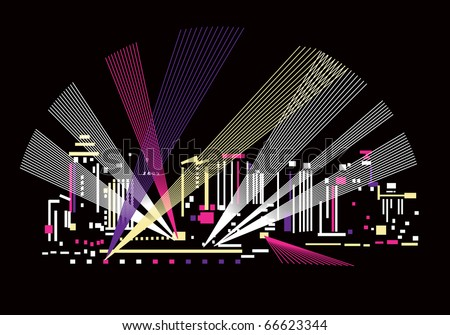 Night and light The light under the night city. Abstract color vector illustration. - stock vector