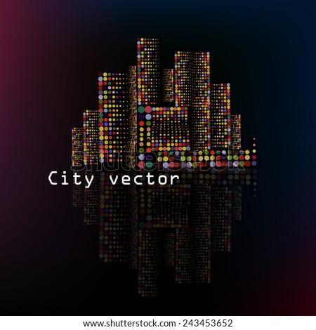 night background city. Vector - stock vector