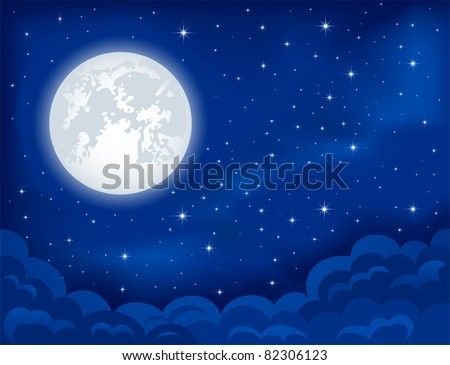 Night background, Moon, Clouds and shining Stars on dark blue sky, illustration - stock vector