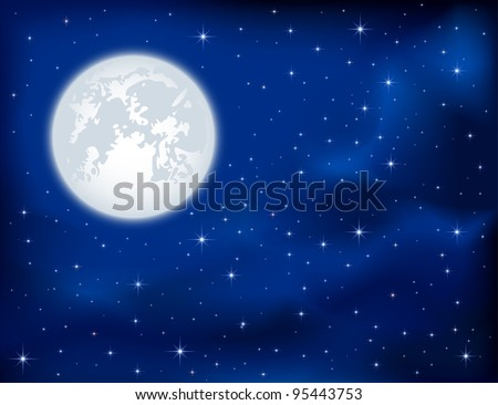 Night background, shining Stars and Moon on dark blue sky, illustration - stock vector