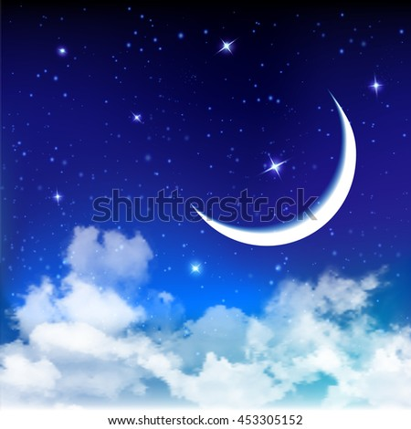 Night background with moon and stars, holy month, Ramadan Kareem. Vector illustration