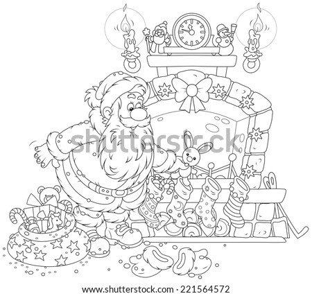 Night before Christmas, Santa Claus putting his holiday gifts into decorated socks on a fireplace - stock vector