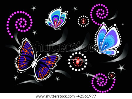 Night butterfly - stock vector