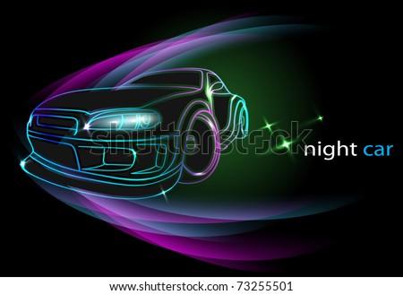 Night Car - stock vector