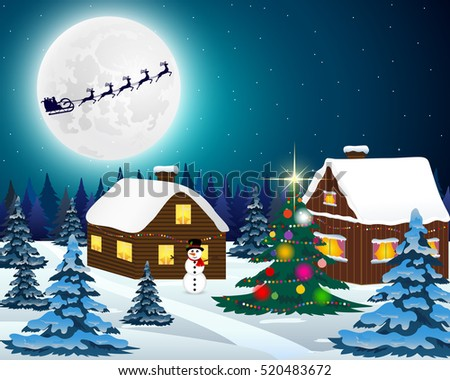 Night christmas forest landscape. Santa Claus flies reindeer in
